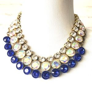 J. Crew Blue Crystal Brûlée Necklace RARE